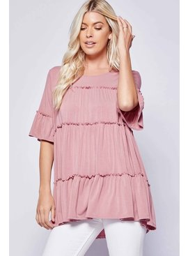 Solid Babydoll Tiered Top