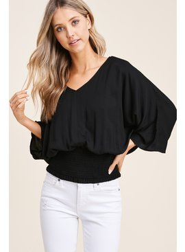 Staccato V-Neck Solid Challi Top