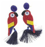 Navy Beaded Post With Parrot With Navy Tassel Earrings