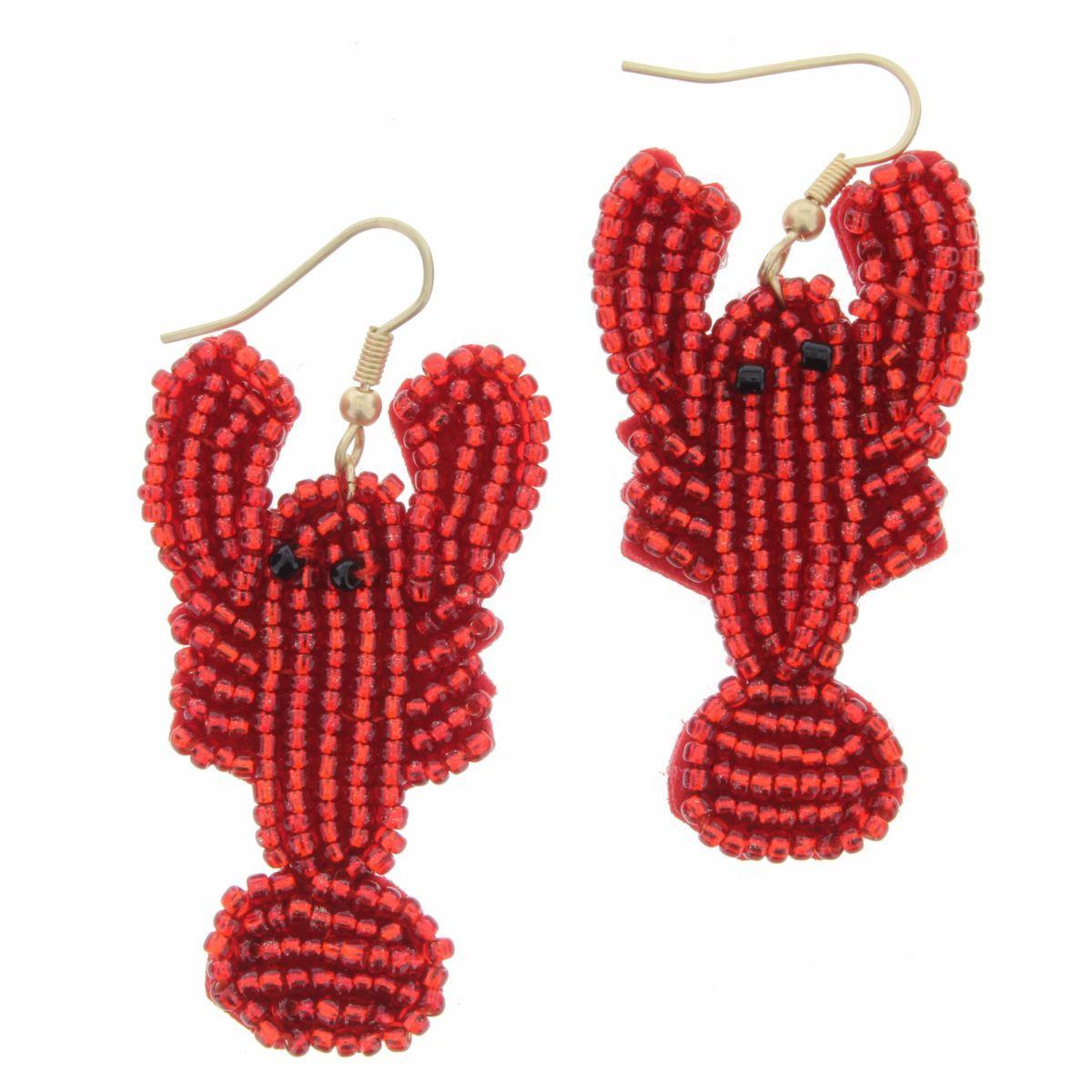 Red Seed Bead Crustacean Earrings