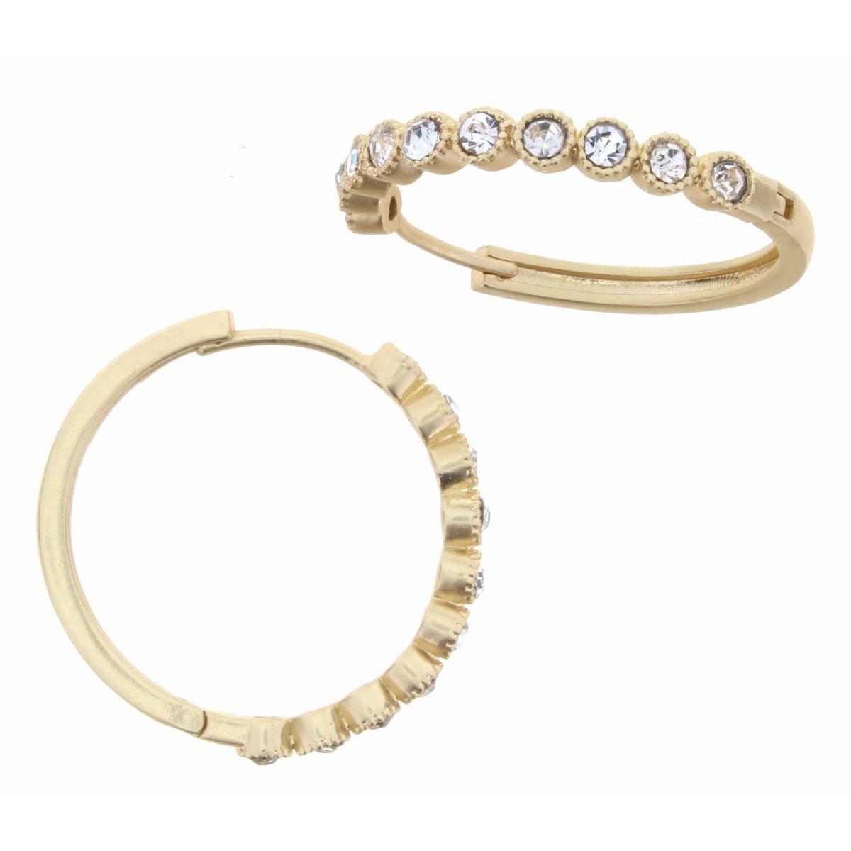 Gold Hoop With Clear Czech Embellishments Earrings