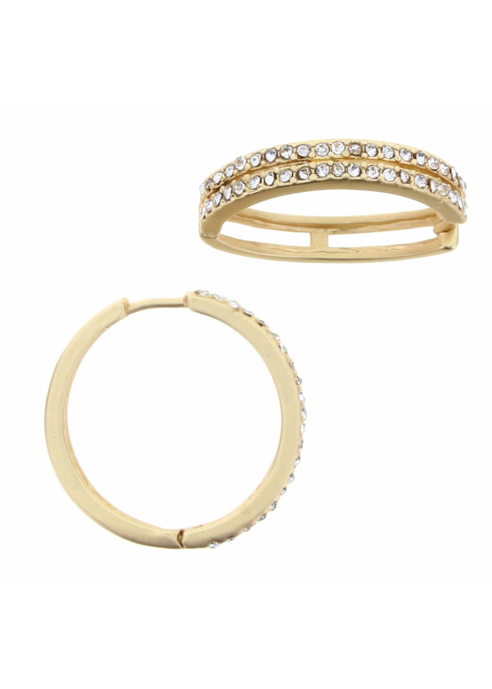 Jane Marie Gold Huggie With Clear Czech Inlay Earring