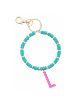 "HOT PINK ""L"" INITIAL WITH TURQUOISE AND GOLD SEQUIN DISCS KEYCHAIN"