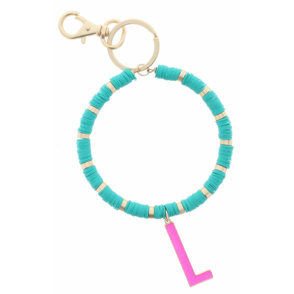 """HOT PINK """"L"""" INITIAL WITH TURQUOISE AND GOLD SEQUIN DISCS KEYCHAIN"""