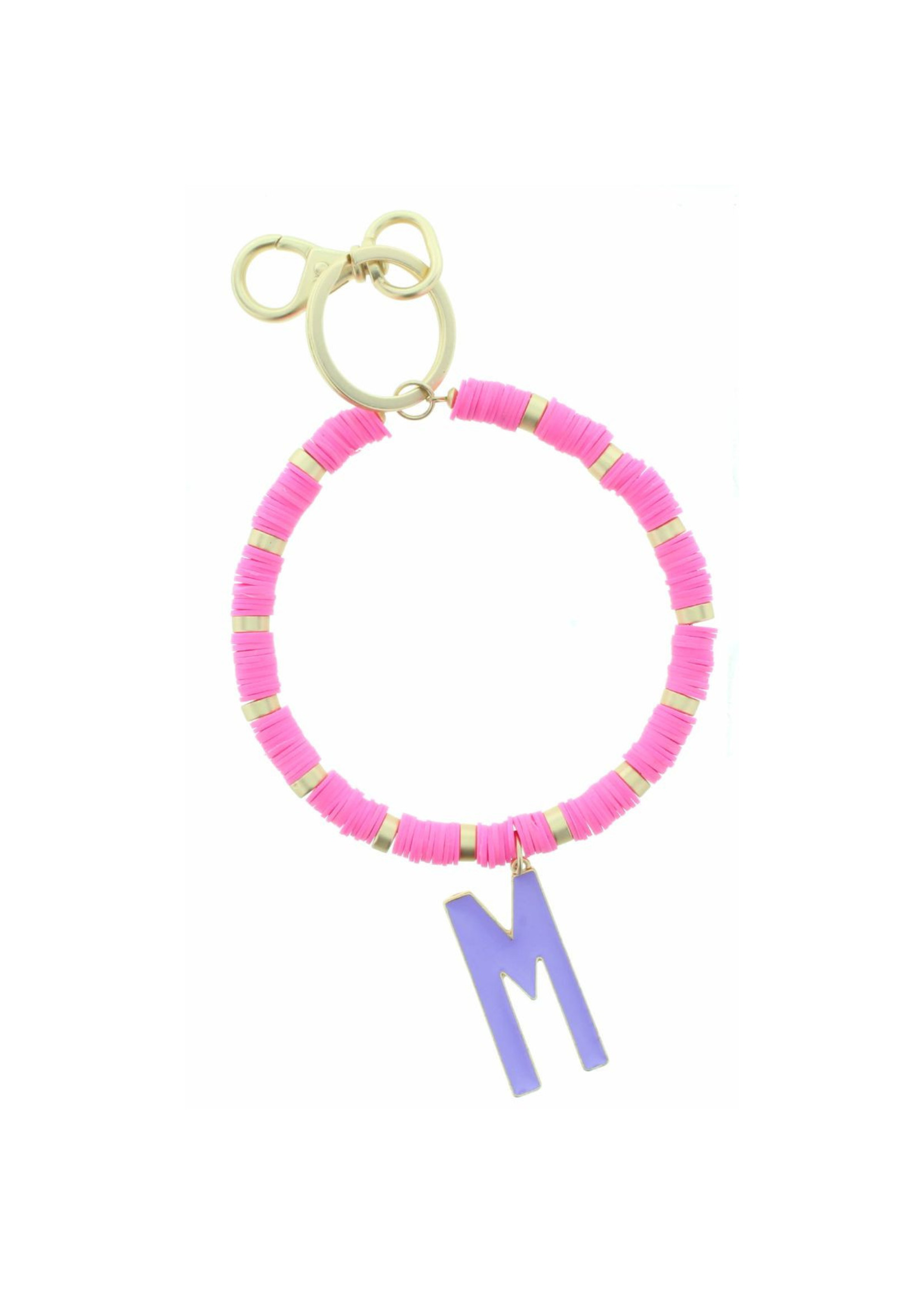 """PURPLE """"M"""" INITIAL WITH HOT PINK AND GOLD SEQUIN DISCS KEYCHAIN"""