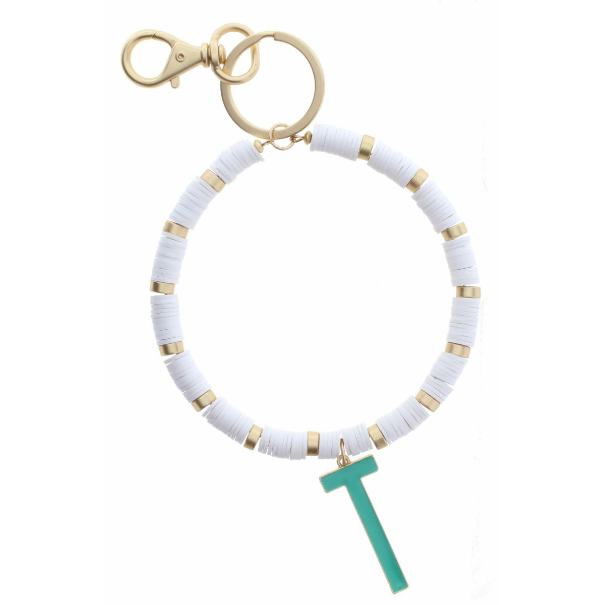 "TURQUOISE ""T"" INITIAL WITH WHITE AND GOLD SEQUIN DISCS KEYCHAIN"
