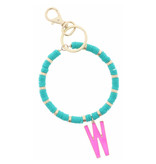 """HOT PINK """"W"""" INITIAL WITH TURQUOISE AND GOLD SEQUIN DISCS KEYCHAIN"""