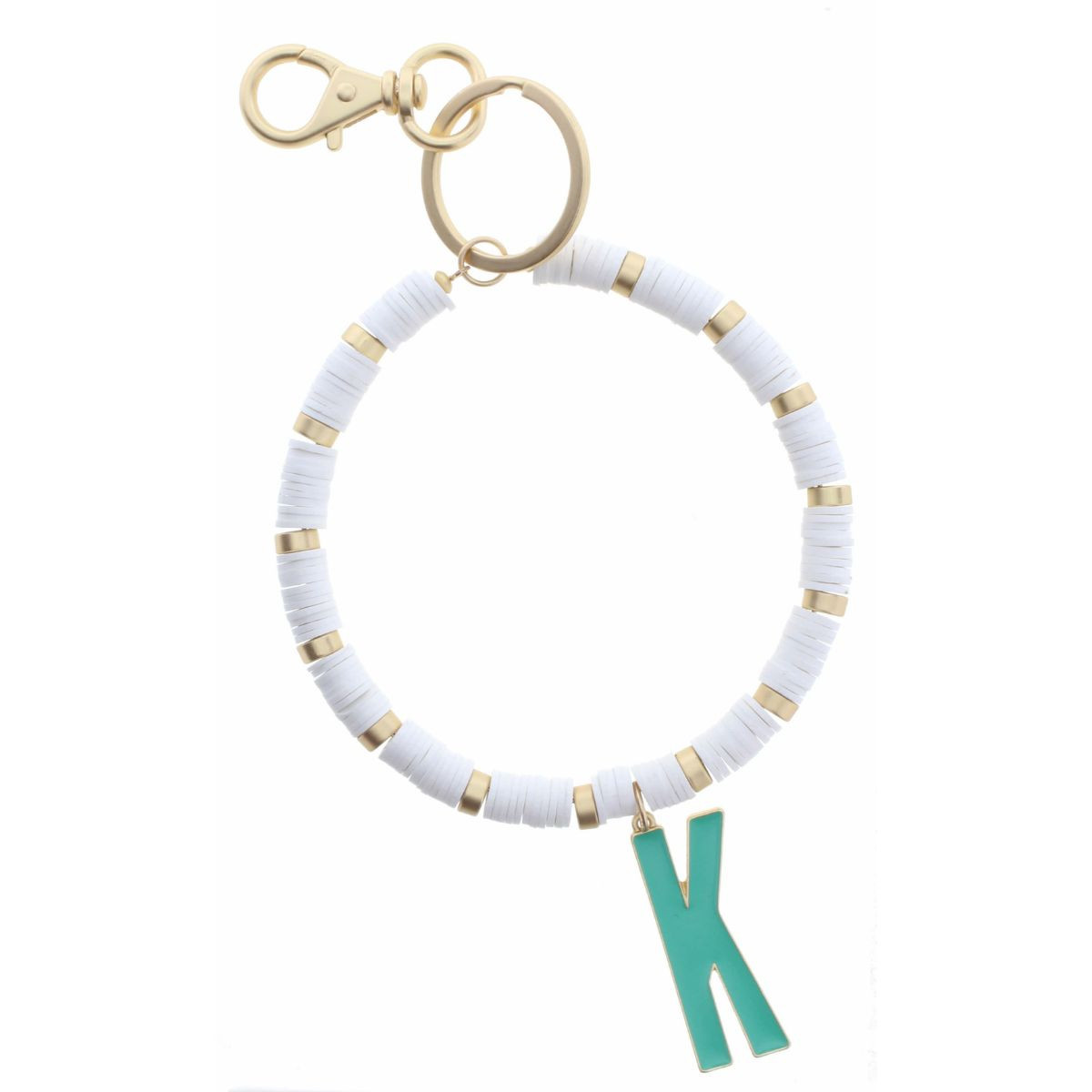 """TURQUOISE """"K"""" INITIAL WITH WHITE AND GOLD SEQUIN DISCS KEYCHAIN"""