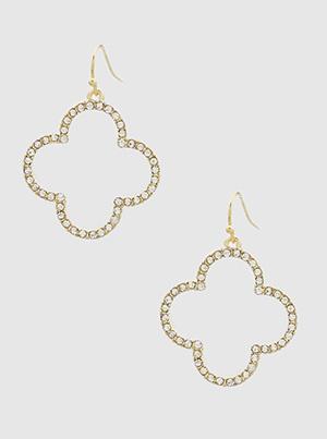 Quatrefoil Crystal Pave Drop Earrings