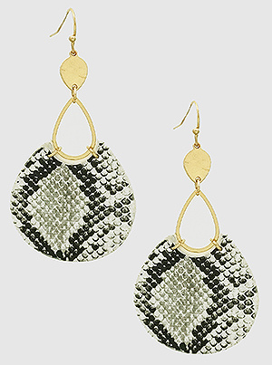 Snake Skin Animal Print Leatherette Geometric Shape Dangling Drop Earrings