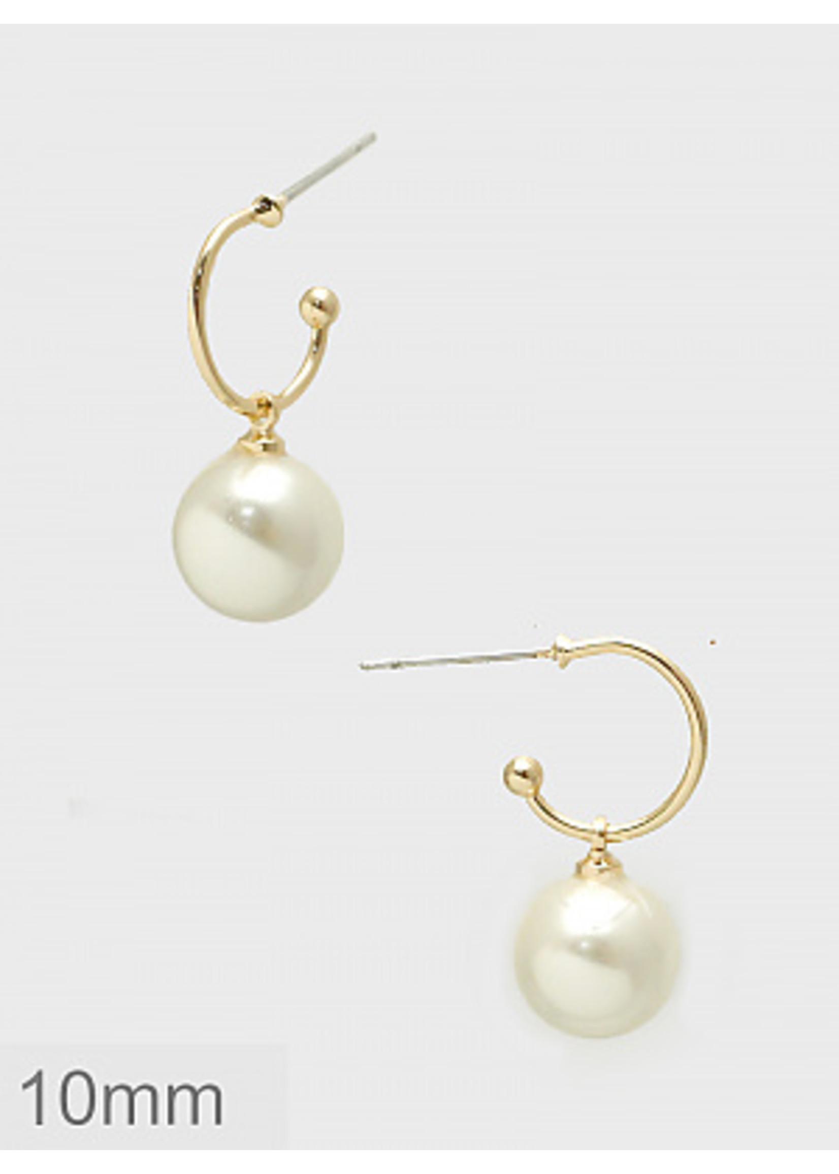 10mm Pearl Dangle Hoop Earrings - Gold