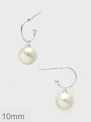 10mm Pearl Dangle Hoop Earrings - Silver