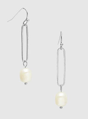 Metal Hollow Oval Dangle Drop Earrings With Freshwater Pearl