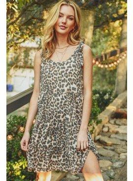 Jodifl Leopard Shoulder Tie Tiered Baby Doll Dress