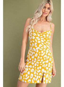 Glam Cowl Neck Slit Dress