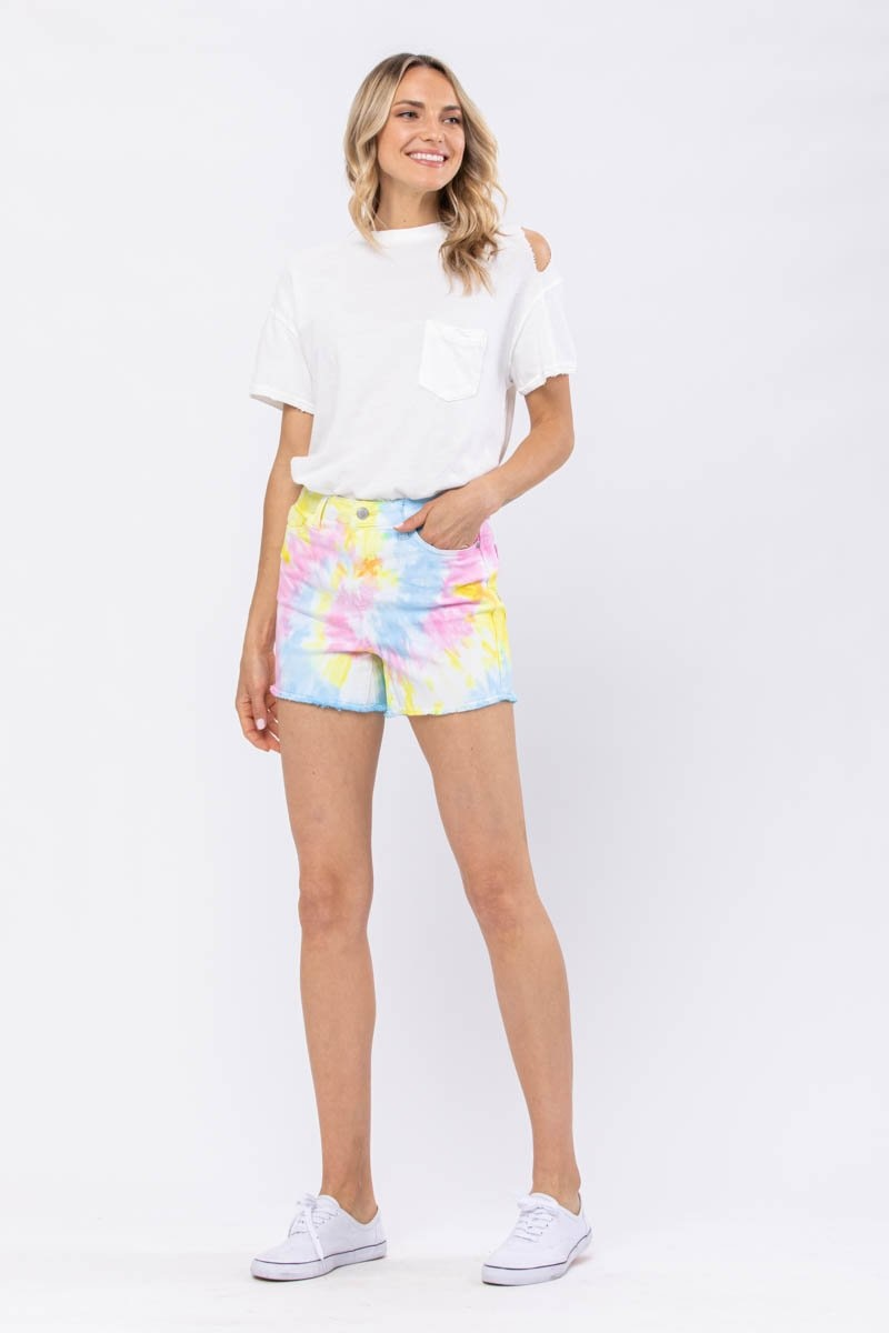 JUDY BLUE Sally Swirl Tie-Dye Shorts
