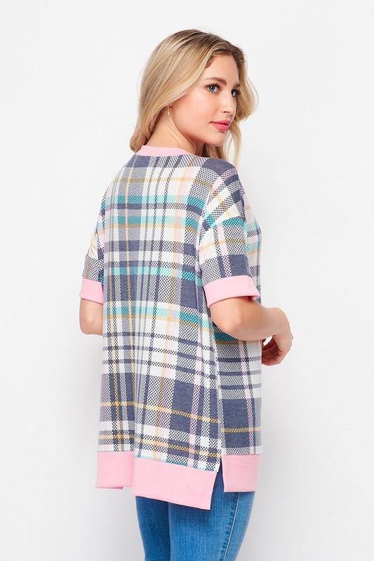 Honeyme Weekender Plaid Short Sleeve with Side Slits