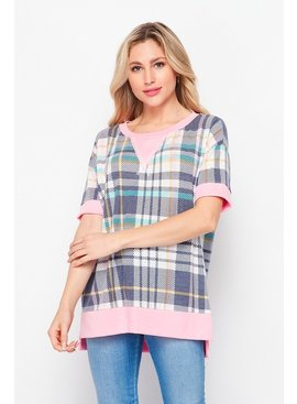 Honeyme Weekender Plaid Short Sleeve with Side Slits
