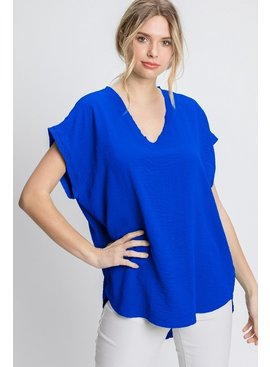 Jodifl Solid Cap Sleeve Raw Edge Top