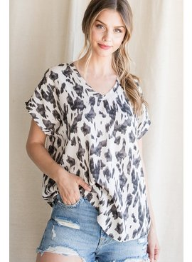Jodifl Print Cap Sleeve Raw Edge Top