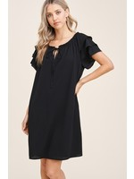 Staccato Flutter Layered Short Sleeve Dress