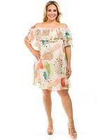 Multi Leopard Print Off Shoulder Dress