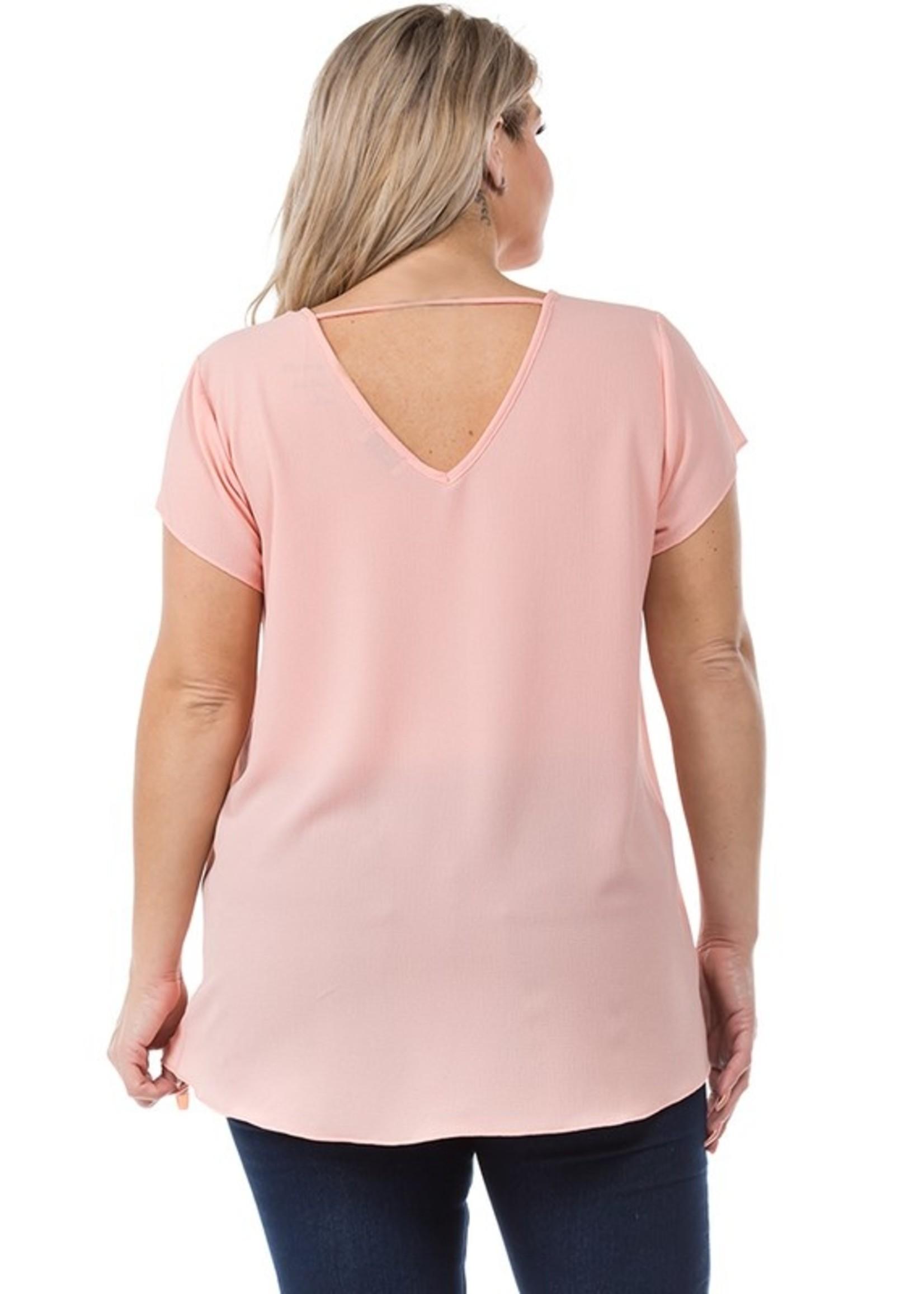 Spin USA Short Sleeve V Neck Dressy Top