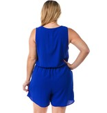 Solid Button Front Romper With Pockets