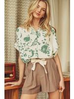 Jodifl Tie-Dye Button-Up Collared Short Sleeve Top