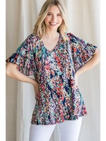 Jodifl Watercolor Floral Print Ruffle Short Sleeve Top