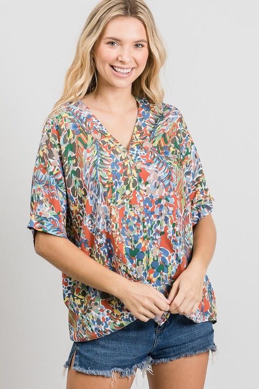 Jodifl Watercolor Floral Print Short Sleeve Boxy Top