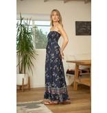 VOY Ryleigh Smocked Maxi Border Print Dress