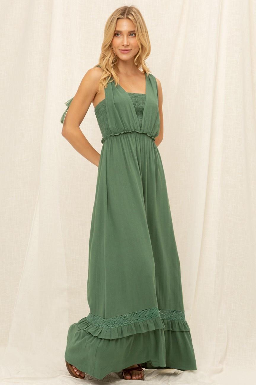 VOY Alaina Lace Detail Smocked Maxi Dress