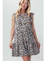 Leopard Ruffle Pleated Short Sleeve Flare Dress