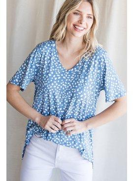Jodifl Spotted Print V-Neck Short Sleeve Top