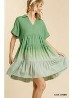 Umgee Tiered Dress with Frayed Hem