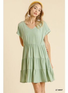 Umgee V-Neck Short Sleeve Babydoll Dress