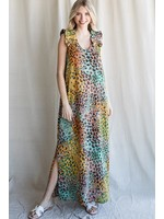 Jodifl Colorful Leopard Print Ruffle Shoulder Maxi Dress
