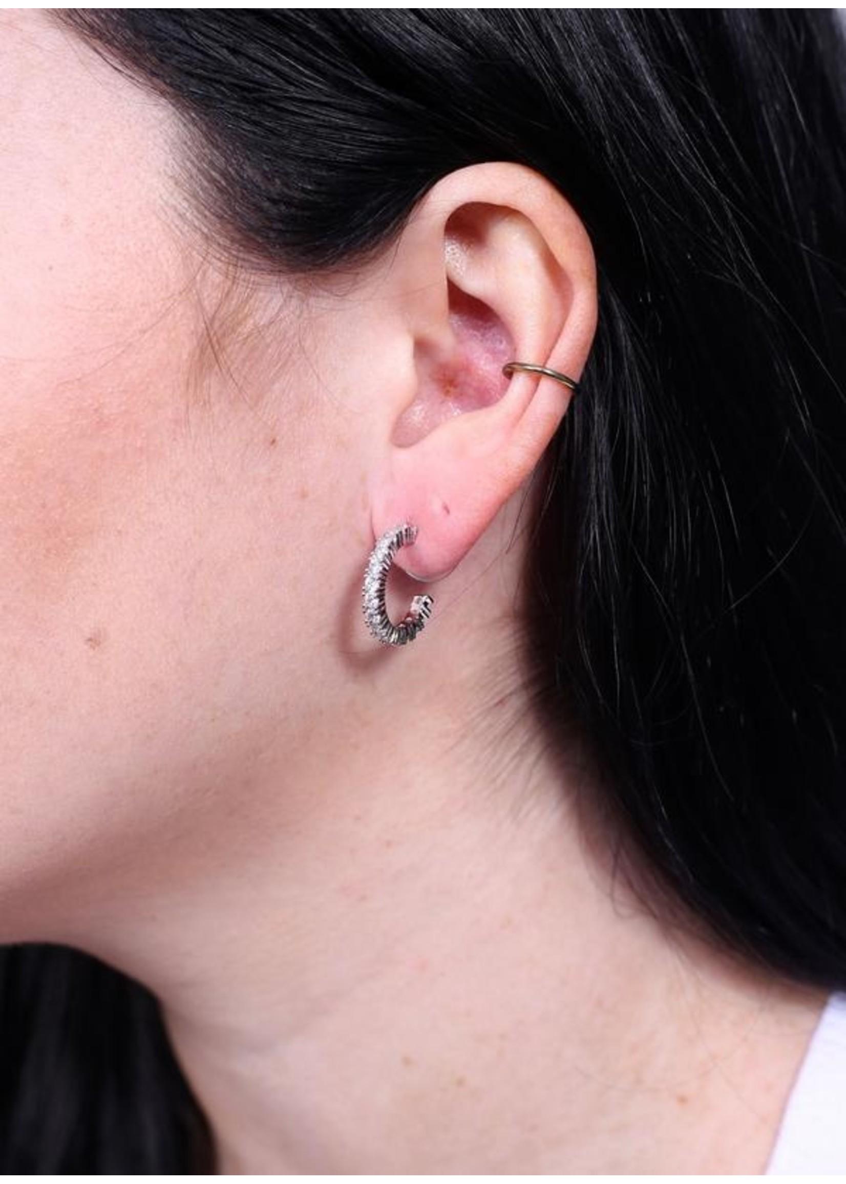 Mikah cz post hoop earring silver
