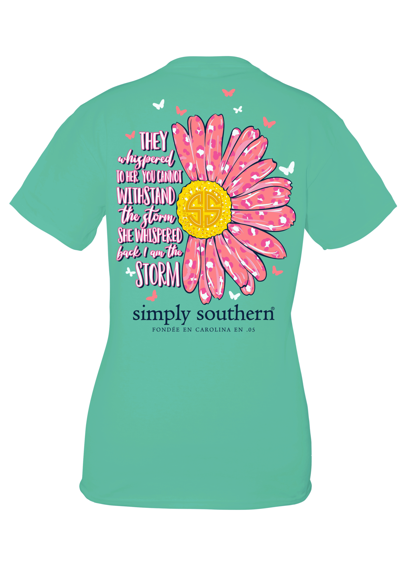 Simply Southern Collection Youth - Storm Leopard Daisy Short Sleeve T-Shirt