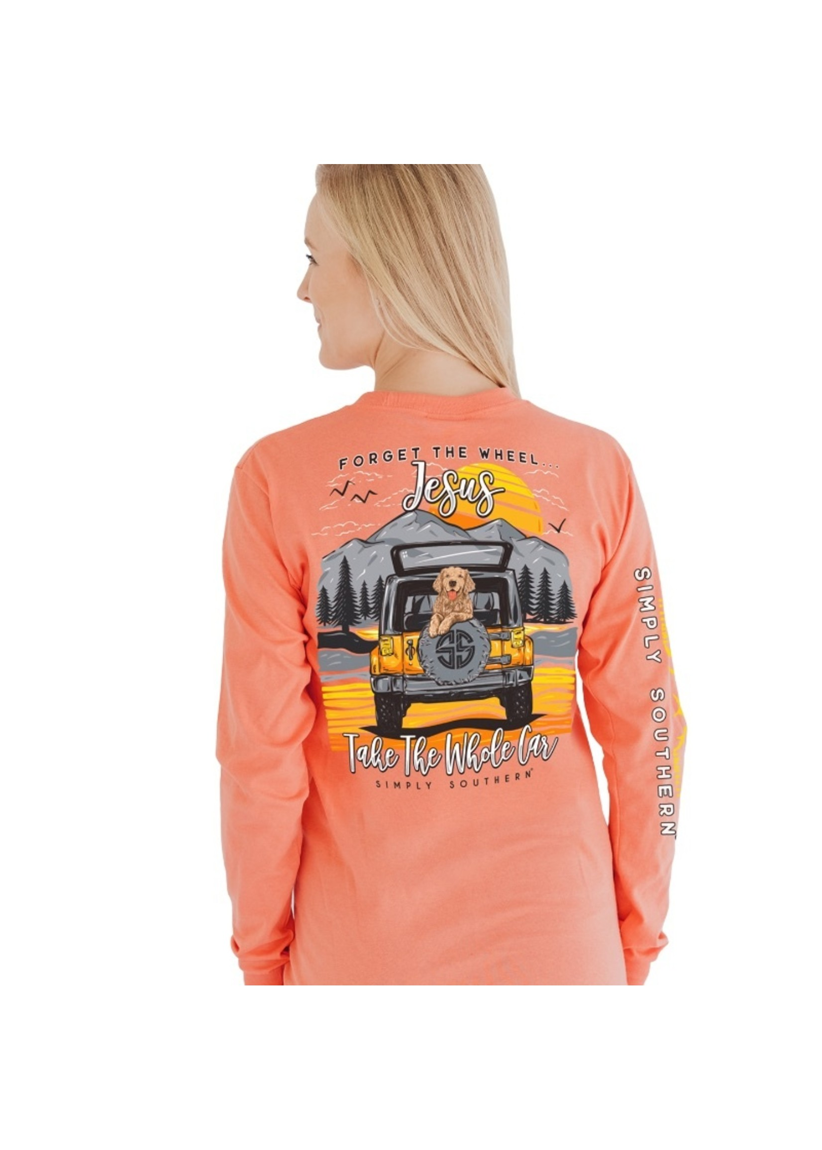 Simply Southern Collection Forget The Wheel Jesus Take The Whole Car Long Sleeve T-Shirt