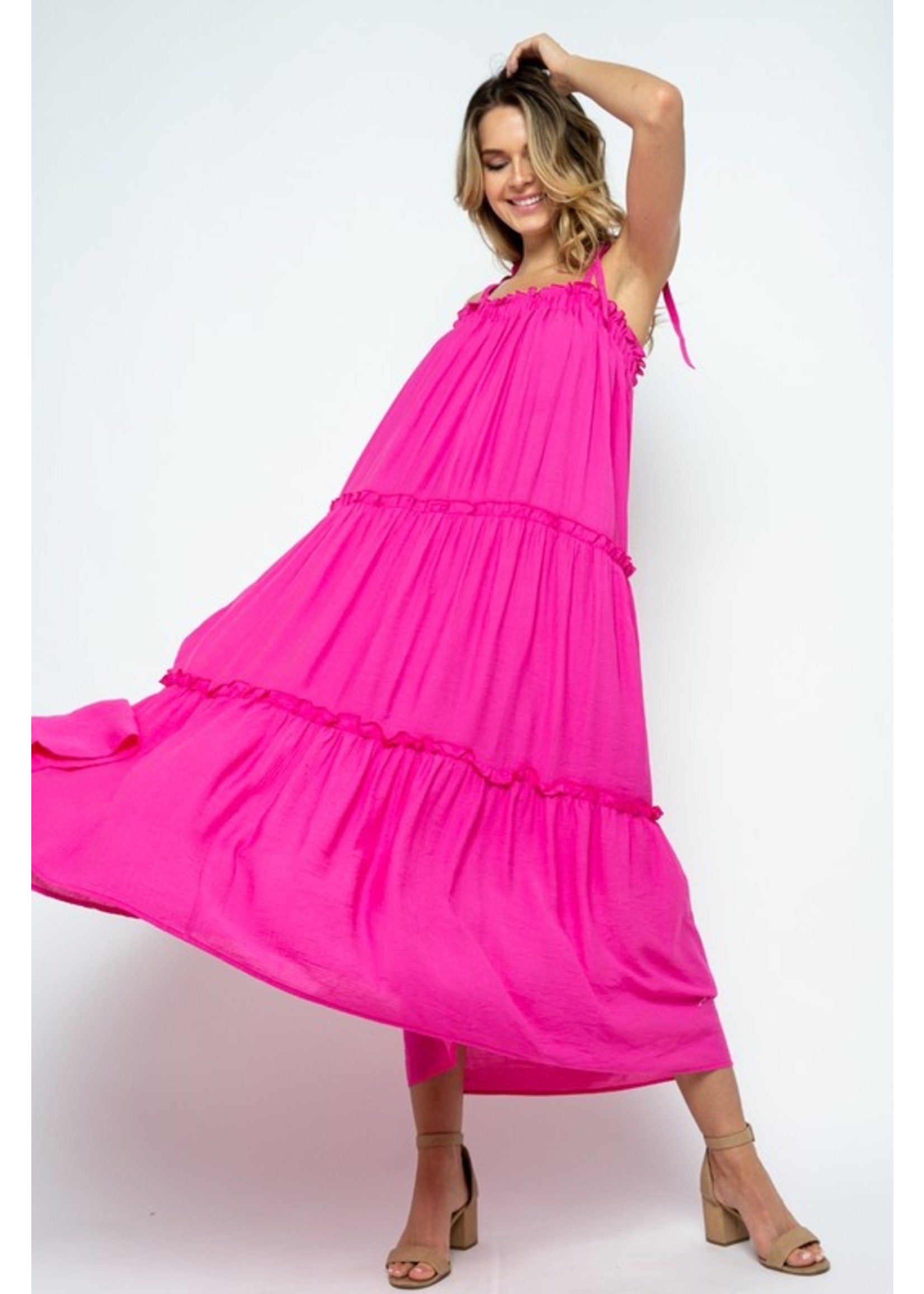 Ruffle tiered maxi dress with straps