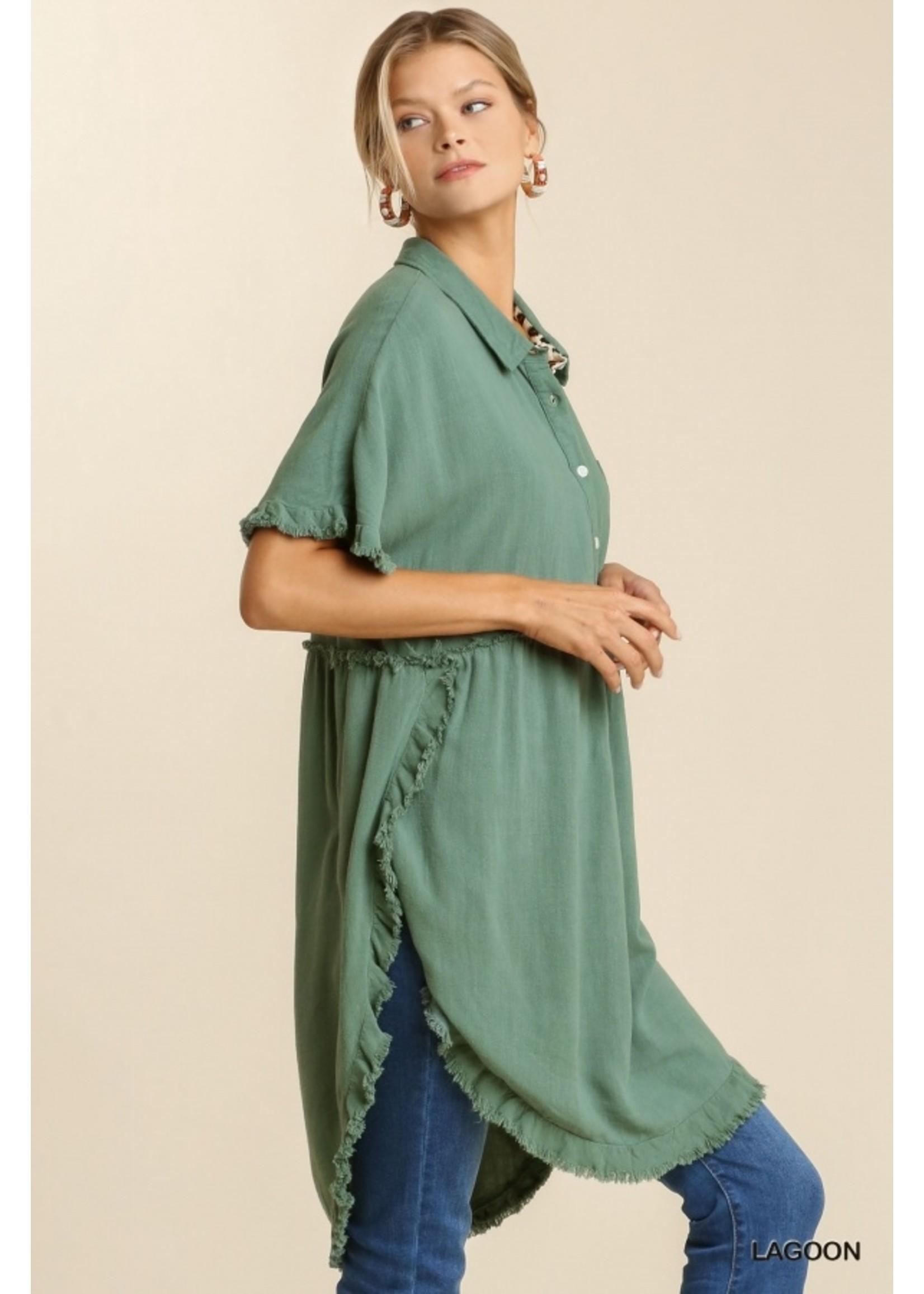 Umgee Linen Blend Short Sleeve Tunic Dress