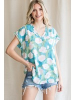 Jodifl Floral Print V-Neck Cap Sleeve Top