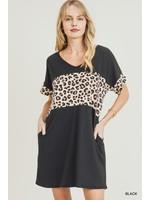 Jodifl Dolman Sleeve Dress With Animal Print Contrast