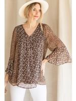 Jodifl Floral/Leopard Print Chiffon Bell Sleeve Top