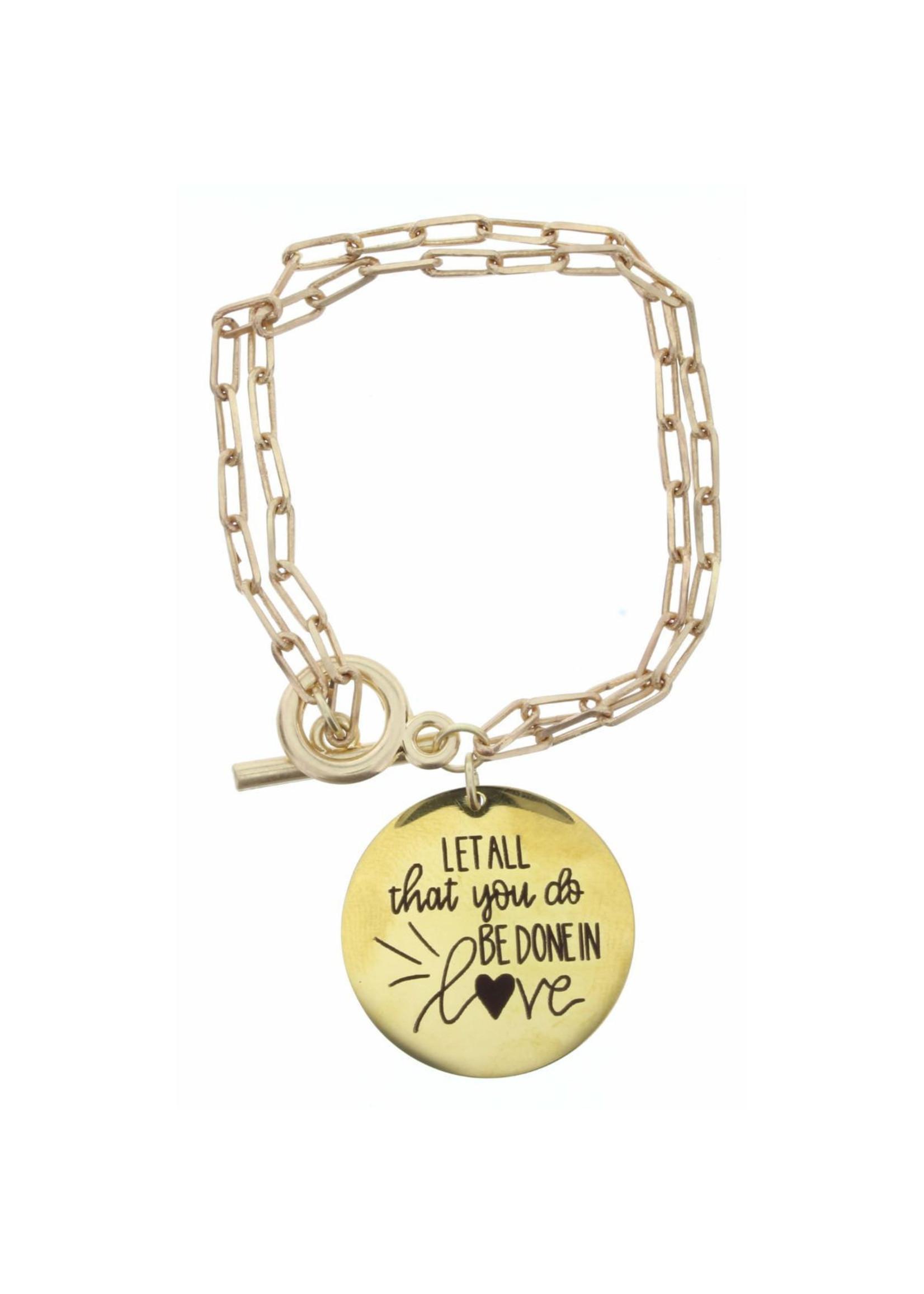 Jane Marie Faith Disk,  Double Chain Toggle Bracelet