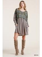 Umgee Animal Print LS Waffle Knit Dress