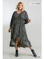 Umgee Dalmatian Print High Low Midi Dress with Ruffle Hem