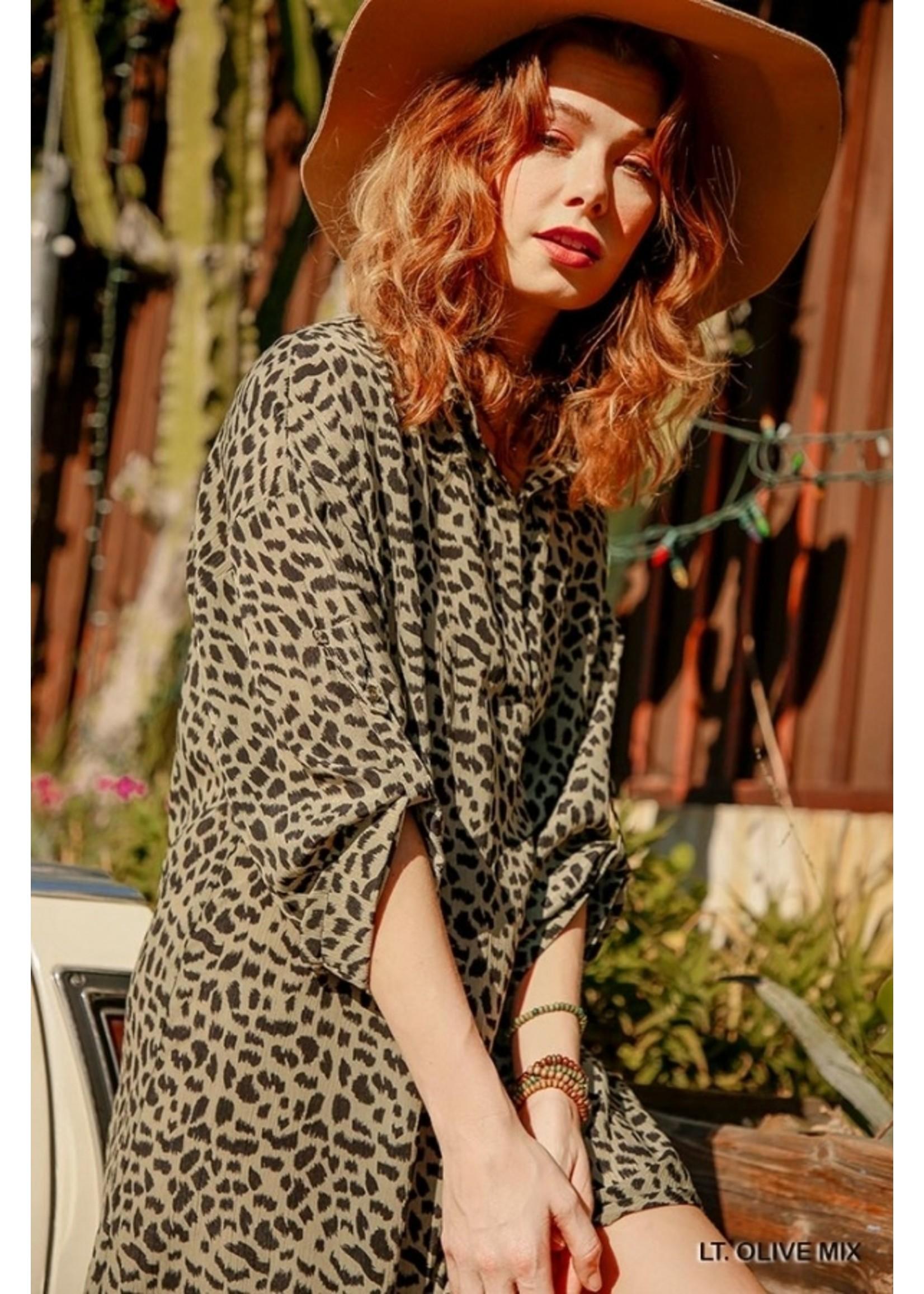 Umgee Animal Print Roll Up Sleeve V-Neck Collared Dress